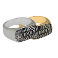 Wholesale Rectangle Ring Fingerprint Jewelry silver and gold