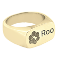 Wholesale Rectangle Ring Pet Jewelry- Paw Print