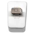 Front view of rectangle ring with fingerprint & initials- form not included