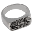 Silver Rectangle Ring with Fingerprint and engraved intials
