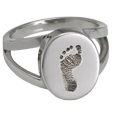 Wholesale Baby Footprint Oval Split Ring in sterling silver