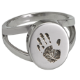 Handprint Split Ring Keepsake Jewelry in silver