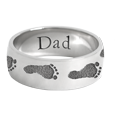 Wrap-Around Footprint Trail Band Ring shown in silver