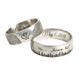 classic band rings personalized with fingerprints or handwriting