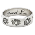 Wrap-Around Paw Print Band Ring in sterling silver