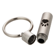 Pawprint Cylinder key chain shown with open lid