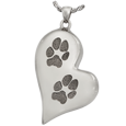 Wholesale Teardrop Heart 2 Pawprints Chamber Jewelry in silver