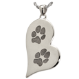 Wholesale B&B Teardrop Heart Actual 2 Pawprints Jewelry in silver
