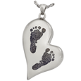 Teardrop Heart 2 Footprints Silver Jewelry with chamber