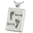 Twin Footprints with Names Jewelry Silver with compartment
