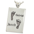 Twin Footprints with Names Silver Flat Rectangle Jewelry