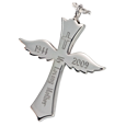 Sterling silver Winged Cross shown engraved
