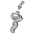Wholesale Cremation Jewelry Ribboned Heart shown with open lid