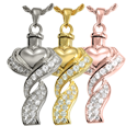 Wholesale Cremation Jewelry Ribboned Heart shown in silver and gold metals