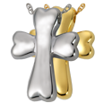 Dog Bone Cross pet jewelry shown in silver and gold metals