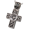 Paw Print Cross pet jewelry in antique silver