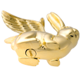 Rabbit (Ears Up) cremation jewelry revealing discreet urn opening