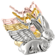 Rabbit (Ears Up) cremation jewelry shown in silver and gold metals