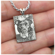 custom pet photo engraved onto sterling silver rectangle pendant