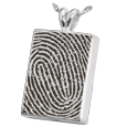 Silver Chamber Rectangle Fingerprint Jewelry