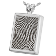 Silver Rectangle Fingerprint Jewelry with rim and compartment
