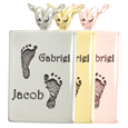 Twin Footprints with Names Rectangle Jewelry