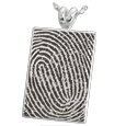 Silver Flat Rectangle Fingerprint Jewelry