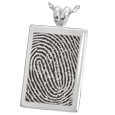 Silver Flat Rectangle Fingerprint Jewelry with rim