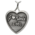 Wholesale 3D Handwriting Heart Silver Jewelry