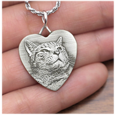 Heart charm necklace engraved with custom cat photo