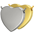 Wholesale Cremation Jewelry: Peaceful Heart shown in silver and gold metals