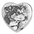 dog photo engraved on to heart pendant urn jewelry