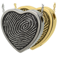 Wholesale Fingerprint with Rim Heart Pendant in silver and gold