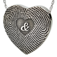 Wholesale Heart 3D Duo Fingerprints Ampersand in silver with compartment