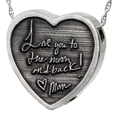 Silver 3D Custom Handwriting Heart Jewelry with compartment