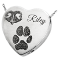Heart Noseprint Pawprint + Name Pet Jewelry chamber silver