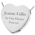 silver ash holding heart jewelry engraved with text