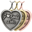 Wholesale 3D Handwriting Heart memento Jewelry in silver or gold