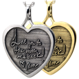 3D Custom Handwriting Heart charm in silver or gold