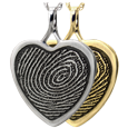 Heart Fingerprint Jewelry in silver and gold