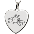 Silver Heart Personalized Jewelry front- Drawing