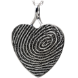 Heart Full-coverage Fingerprint Jewelry no chamber sterling silver