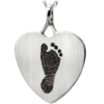 Wholesale B&B Heart Footprint Jewelry no chamber in silver