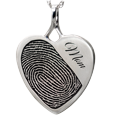 Silver heart with fingerprint and name engraved on front