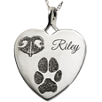 Heart Noseprint Pawprint + Name Pet Jewelry no chamber silver