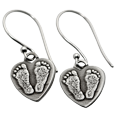 Wholesale Petite Heart Earrings matching footprints