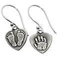 Wholesale Petite Heart Earrings with mixed footprints & handprint