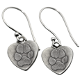 Actual pawprints engraved onto metal heart earrings