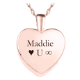 rose gold petite heart with custom text cremation jewelry