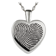 silver mini heart fingerprint urn jewelry